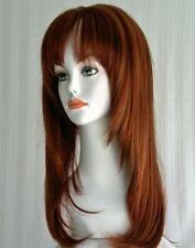 Sexy Long Straight Layered Wig w/ Full Bangs Center Parting Ultra Comfort