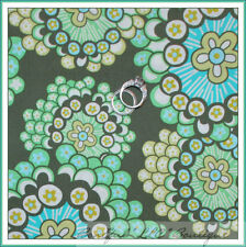 BonEful Fabric FQ Cotton Quilt Amy Butler Daisy Chain Flower Brown Blue Green NR