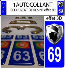 1 adesivo targa auto TUNING 3D RESINA STEMMA CORSICA DIPARTIMENTO 69