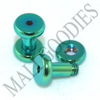 0530 Green Steel Screw-on/fit Flesh Tunnels 8 Gauge 8G 3.2mm Ear Plugs