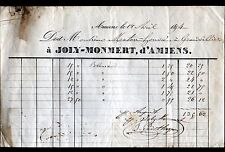 """AMIENS (80) TOILES & FABRIQUE de BACHES """"JOLY & MONMERT"""" en 1854"""