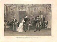 Théatre-Français Antoinette Rigaud Comédie Raymond Deslandes Paris GRAVURE 1885
