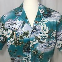 Vintage 80s Jade Fashions Blue White Kamehameha Tiki Hawaiian Shirt Size XL