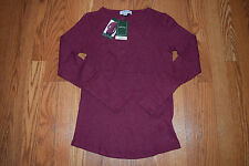 NWT Womens ORVIS Heather Cabernet Red Waffle Knit Thermal Soft LS Shirt L Large