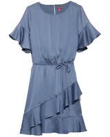 Vince Camuto Womens Ruffle Sleeve Blouson Minidress Small Dusty Blue