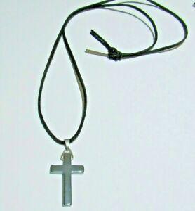 Gold faux suade necklace hematite/gunmetal pendant cross