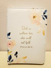 """""""GOD IS WITHIN HER BIBLE COVER HOLDER CASE WOMANS CARRY VERSE PSALMS FLORAL BLUE"""