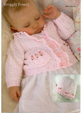 baby / child / girl cardigan and hat dk knitting pattern 99p
