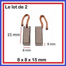 2 Balais Charbons 8 x 8 x 15 mm Compresseur Clim Ventilateur ... 8*8*15 mm