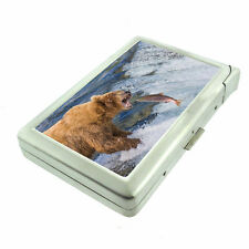 Alaska Images D7 Cigarette Case with Built in Lighter Metal Wallet Grizzly Fish