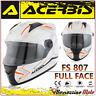 CASCO INTEGRALE ACERBIS FS-807 MOTO SCOOTER FULL FACE BIANCO ARANCIO TAGLIA M