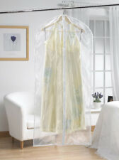H & L Russel PEVA Soft Touch Long Garment Cover Clear White Trim Set of 2