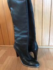 JEAN-MICHEL CAZABAT LUXURY REBEL BLACK LEATHER KNEE HIGH BOOTS Size 9