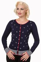 All over Anchors Embroidery Nautical Close Call Retro Cardigan By Banned Apparel
