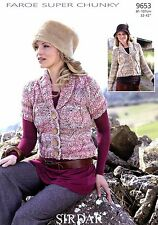"Sirdar Faroe Super Chunky Knitting Pattern 9653 Cardigans 81-107cm 32-42"""