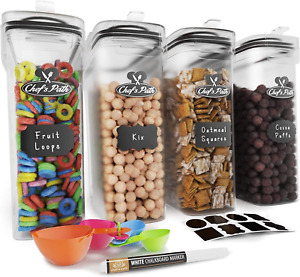 Cereal Container Storage Set - Airtight Food Storage Containers, 8 Labels, Spoon