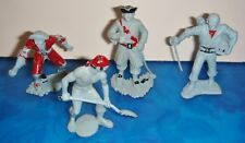 PIRATES! Rubber Figures Lot of 4 VG 1950s Light Blue & partially painted