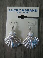 Lucky Brand silvertone shell faux pearl drop earrings, NWT
