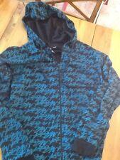 Krew Hoodie Logo Zip Up Sweatshirt Skater Apparel Black Turquoise