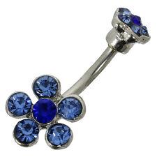Bauchnabelpiercing BLUME aus Chirurgenstahl blaue Kristalle Navel Piercing Navel