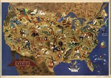 18 x 24 Vintage 1946 Map Of William Gropper's America United States