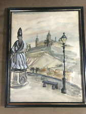 "H Kindue ""City Landscape Scene"" Ink And Watercolor Painting - Signed And Framed"