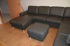 Leder Sofa, Couch, Sitzgarnitur, Wohnzimmer Sofa, Wohnlandschaft mit Hocker