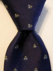 BROOKS BROTHERS Boy's Youth Silk Necktie USA Designer LOGO Sheep Blue/Gold GUC