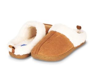Floopi Womens Indoor Outdoor Fur Lined Clog Slipper L 9 10 Memory Foam Chestnut