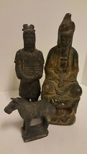 Lot 3 Antique Japanese Chinese Cast Metal Painted Resin Man Horse Statue