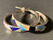 """Sterling Silver Southwest Mosaic Gemstone Hoop Earrings 1 1/2"""" Diameter"""