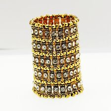 Bracelet Cuff 5 Row Golden Elastic Crystal white Marriage Retro CT10