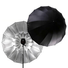 "Studio 75"" / 180cm Large Black Silver Reflective Umbrella for Flash Light Strobe"