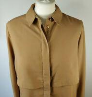 Topshop Boutique Utility Shirt Blouse Beige Camel Neutral Boyfriend UK Size 10