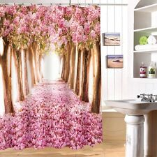 71u0027u0027 3D Pink Beautiful Cherry Blossom Bathroom Fabric Shower Curtain Home  Decor