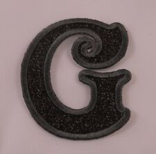 Embroidered Glitter Jet Black Retro Mod Monogram Letter G Applique Patch Iron On