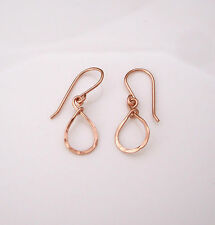 TEARDROP 14K yellow or rose gold filled, sterling silver hammered wire earrings