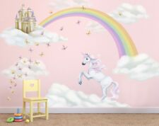 unicorn clouds rainbow & castle wall stickers, unicorn and rainbow wall mural