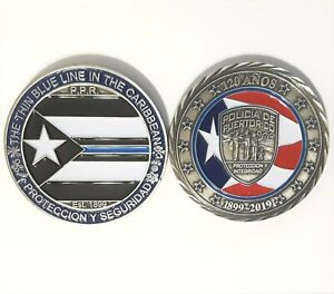 Thin Blue Line POLICIA PUERTO RICO Challenge Coin POLICE Lives Matter TAINO PR