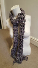 Lovely Wooly  Chunky Knit Scarf In Purple & Grey