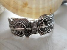 Heavy Southwest Signed Sterling Silver Feather Cuff Bracelet  15624