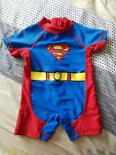 Boys Superman Swimsuit Rash Vest All In One 0-3 Months
