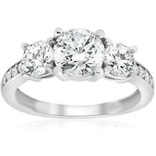 1 1/2ct 3-Stone Diamond Engagement Ring White Gold Round Cut Jewelry Solitaire