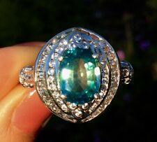 Dazzling 3.28ct Natural Earth Mined Blue Unheated Zircon Cocktail Ring size 10