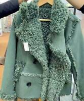 BRAND NEW Designer Sheepskin Suede Shearling Tailor Look Jacket Coat Olive Sage