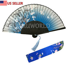 New Hand Fan Chinese Japanese Silk Elegant Modern Folding Fan Flower Butterfly
