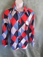 Vintage 70's Womens SKYR Argyle Nylon Shirt Size Medium