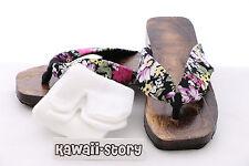 K-G-07 Geta black Japan Holz Sandale Socken für Kimono Yukata (24,5cm/Gr 38)