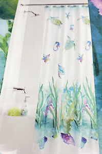 Watercolor Ocean Fabric Shower Curtain  Sea Life Coral Turtles White Green Blue