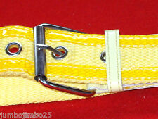 "UNISEX YELLOW CANVAS BELT WITH PATENT STRIPS  1.5"" WIDE FITS  30""  =  36 "" WAIST"